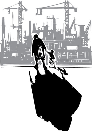 Woodcut style expressionist image of an elderly woman walking in hand with a child to a factory