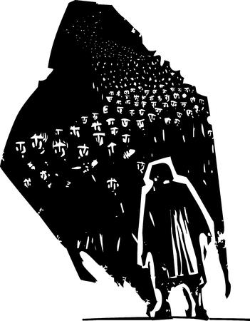 soledad: imagen expresionista estilo de grabado de una anciana con su sombra que tiene una multitud de refugiados