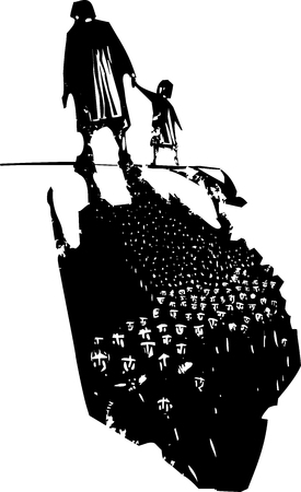 Woodcut style expressionist image of an elderly woman walking in hand with a child trailing refugees in their shadows.