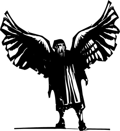 myth: Woodcut style expressionist image of the Greek myth of winged inventor Daedalus.