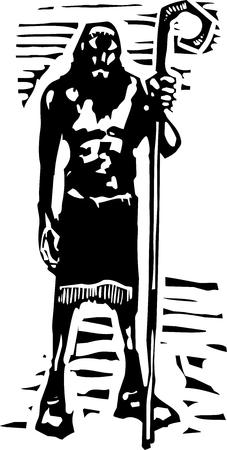 mythological: Woodcut style image of the Greek Mythological cyclopes Polyphemus from Homers Odyssey.
