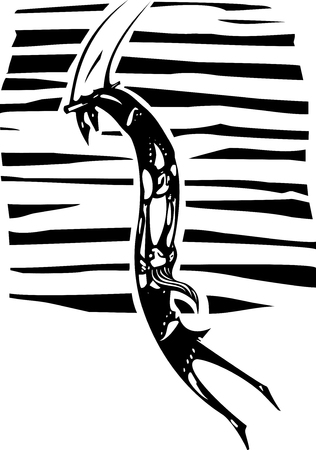 the trapeze: Black and white woodcut style illustration of a couple of circus trapeze artists. Illustration