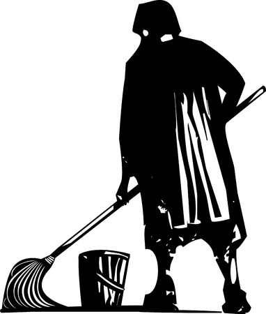 scrub: Woodcut style expressionist image of maid or scrub woman mopping the floor. Illustration