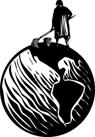 solitary: Woodcut style expressionist image of maid or scrub woman cleaning the Earth