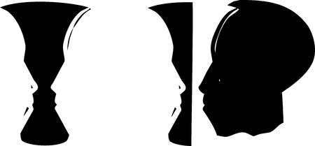 Woodcut style illusion image of a face of an african man and vase in negative space.