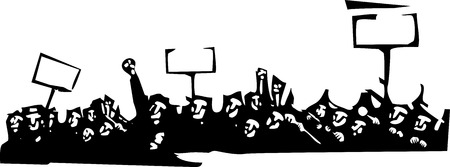Woodcut style image of a riot or protest Illustration
