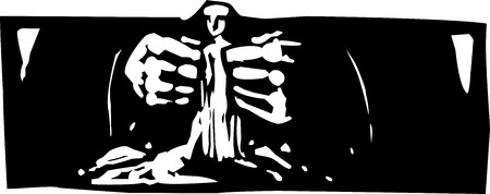 Woodcut style expressionist image of god forming man from clay.