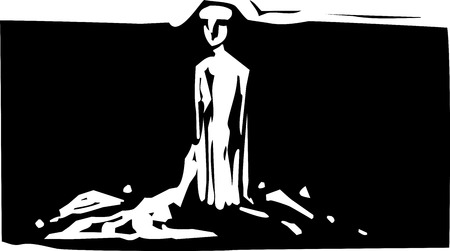 Woodcut style expressionistic image of a sculpture of a clay man Çizim