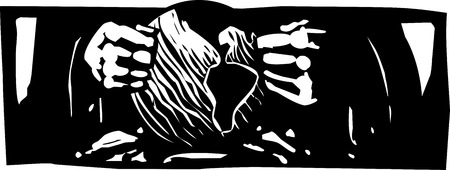 Woodcut style expressionist image of god forming sculpting the earth. Çizim