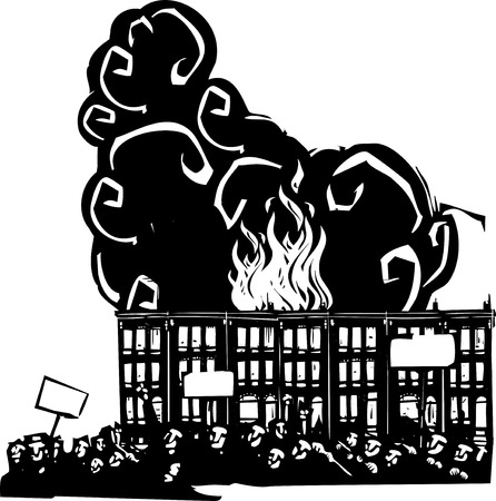 riot: Woodcut style image of a riot or protest in front of burning Baltimore Row houses