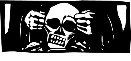 Woodcut style expressionist image of god forming a skull from clay.