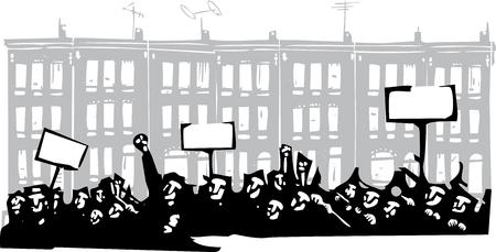 stijl beeld van een oproer of protest houtsnede voor Baltimore Rijtjeshuizen
