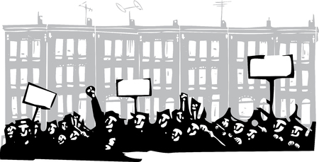 riot: Woodcut style image of a riot or protest in front of Baltimore Row houses