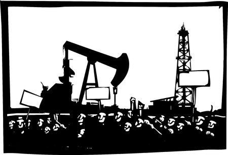 riot: Woodcut style image of a riot or protest in front of an oil drill and pump