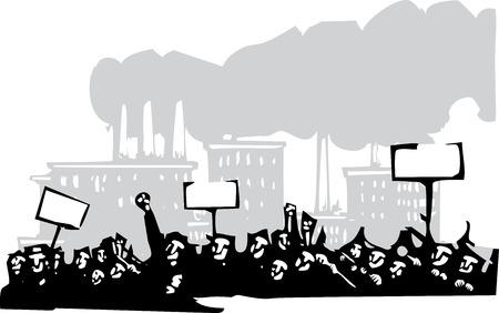 Imagen de estilo de grabado en o por protesta frente a una fábrica Foto de archivo - 56586473