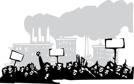 Woodcut style image of a riot or protest in front of a factory