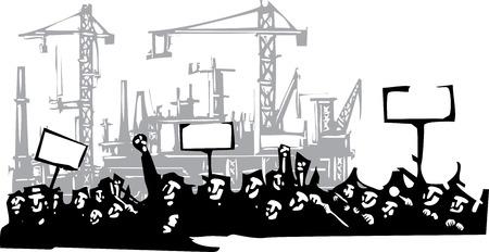 Imagen de estilo de grabado en o por protesta frente a una fábrica Foto de archivo - 56586474
