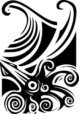 Woodcut style image of a giant squid in the ocean waves.