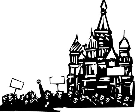 Woodcut style image of a riot or protest in front of the Kremlin in Moscow Illustration
