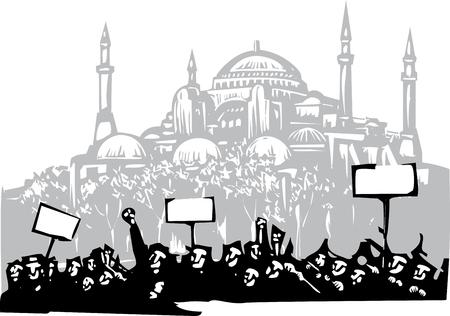 stijl beeld van een oproer of protest houtsnede de voorkant van de Hagia Sophia in Istanbul
