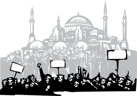 Woodcut style image of a riot or protest in front of the the Hagia Sophia in Istanbul Illustration