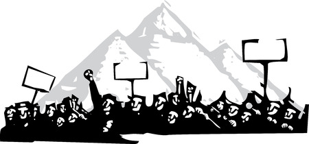 Imagen de estilo de grabado en o por protesta frente a las pirámides de Egipto Foto de archivo - 56586478