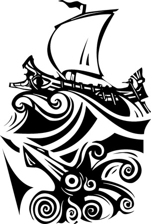 Woodcut style ancient Greek Galley with oars and sail with sea life.