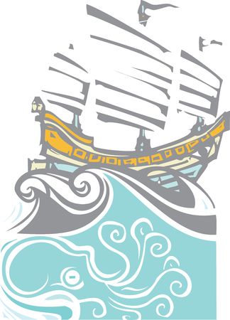 Woodcut style image of chinese sailing ship junk with sea life. Stock Vector - 56585185