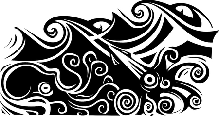Woodcut style octopus and squid beneath the waves.