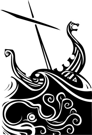 Woodcut style image of a viking longship sailing into the waves
