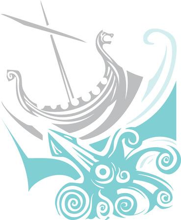Woodcut style image of a viking longship sailing into the waves
