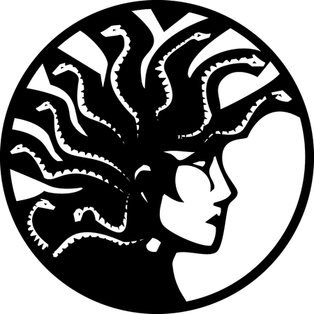 Woodcut style mythical Greek medusa with a Mohawk on circle