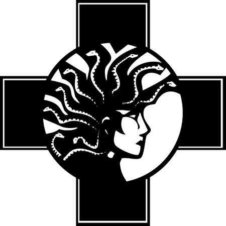 Woodcut style mythical Greek medusa with a Mohawk