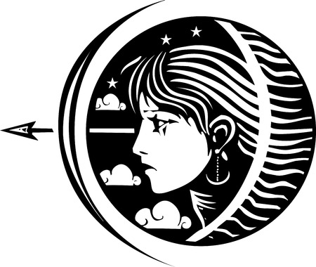 Woodcut style image of a girl with stars clouds at night with Bow and arrow 일러스트