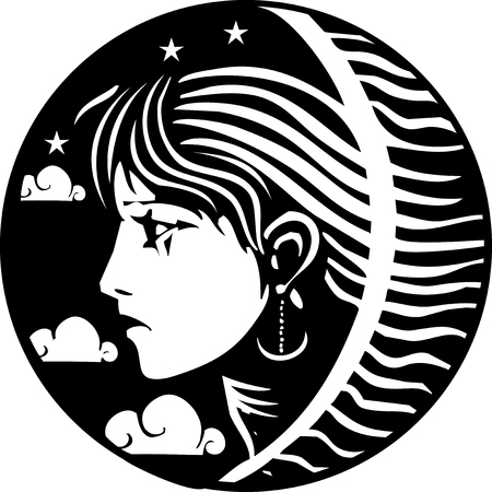 Woodcut style image of a girl with stars clouds at night