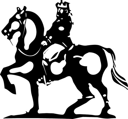 serf: Woodcut style expressionist image of a king mounted on horseback.