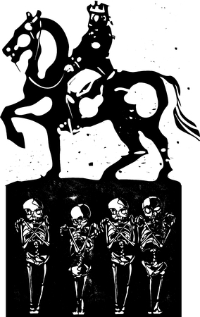 Woodcut style expressionist image of a mounted king riding over the graves of the common people Vettoriali