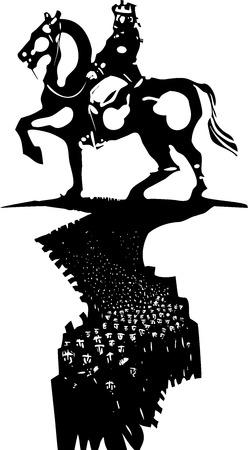 siervo: Madera de estilo expresionista imagen de multitud de personas ante una enorme estatua de un rey a caballo.