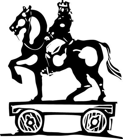 siervo: expresionista imagen de estilo de grabado montado en un juguete de niño a caballo con ruedas. Vectores