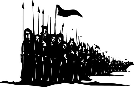 spears: Woodcut style expressionist image of a medieval army of soldiers with spears on the march.