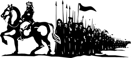 regiment: Woodcut style expressionist image of an army marching behind a king on horseback. Illustration