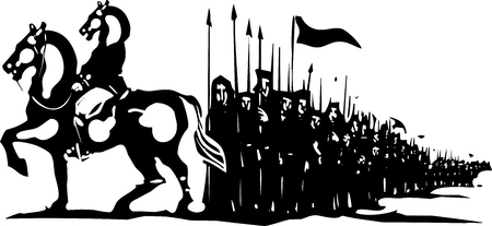 regiment: Woodcut style expressionist image of a horse headed general leading an army. Illustration