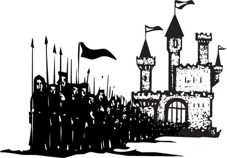 siervo: expresionista imagen de estilo de grabado de un ej�rcito dejando un castillo. Vectores