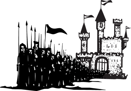 Woodcut style expressionist image of an army leaving a castle.