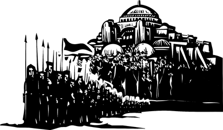Woodcut style expressionist image of a crusader army in front of Byzantium Vettoriali