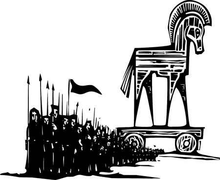 odyssey: Woodcut style expressionist image of the Greek Trojan Horse with an army walking from it.