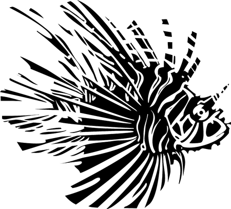 lionfish: Woodcut style image of a tropical lionfish