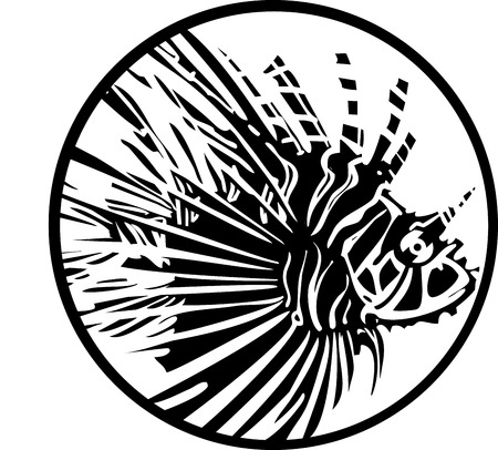 Woodcut style image of a tropical lionfish in a circle.