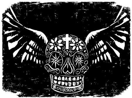 Woodcut style image of a Mexican Day of the Dead skull with wings.
