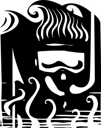 free diver: Woodcut style image of a free diver with a snorkel